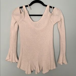 White Express Cut Out Shoulder sweater